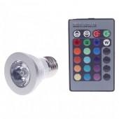 3W RGB LED Bulb Spotlight AC 85-265V E27 Spot Light Lamp 4pcs