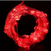 Unique Heart Shaped Red 33ft 10M 100 LED Copper Wire Fariy String Light 12V